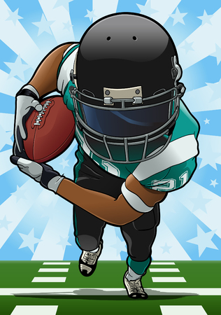 Cartoon style illustration: Running back carrying the ball Ilustração