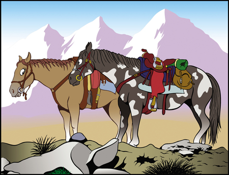 Cartoon illustration Two Far West horses looking at each other and smiling Mountains on the background Illustration