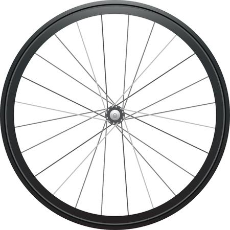 Illustration réaliste : roue de vélo isolé sur fond blanc