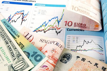 Currency of Australia, China, Euro, Singapore and USA with chart indicators.