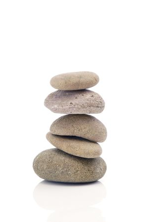 Stacking of pebbles in an unbalanced posture.