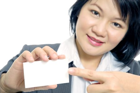 A business lady pointing to a blank card.