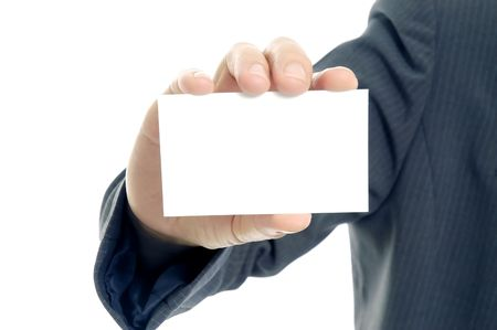 Displaying a blank card Stock Photo