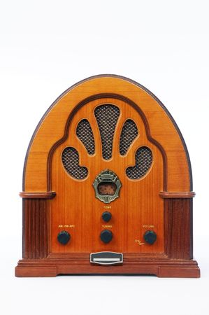 A vintage radio on white background. Stock Photo