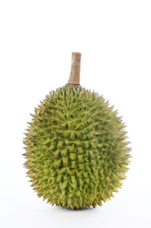 Durian, the king of fruits of South East Asia on white background Stock Photo