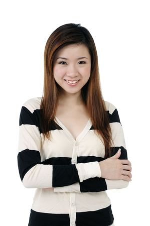 Portrait of a beautiful young woman smiling over white background.