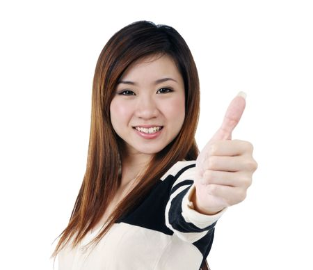 sadece kadınlar: Portrait of a beautiful woman giving thumbs up sign over white background.