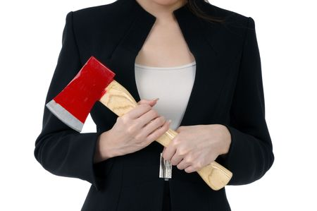 Close-up of a businesswoman carrying an axe, isolated on white.