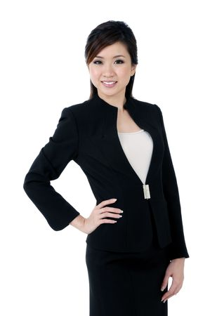 Portrait of an attractive young businesswoman smiling, over white background.