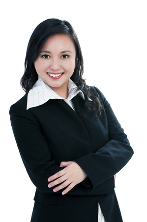 Portrait of a beautiful businesswoman smiling over white background. Stock Photo - 8984978