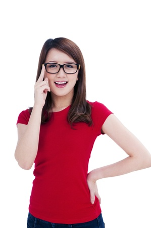 Portrait of a happy young female in eyeglasses over white background.