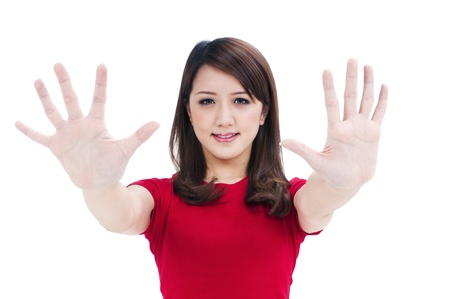 Closeup portrait of a young woman showing hands isolated on white background. Stock Photo