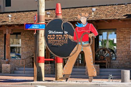 scottsdale: Old Town Scottsdale cowboy sign in historic shopping district Scottsdale Arizona Stock Photo