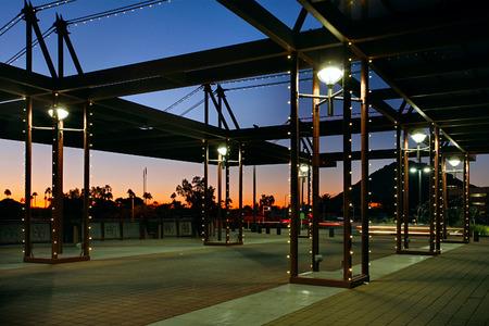 scottsdale: Scottsdale Waterfront Bridge in Scottsdale Arizona with Camelback Mountain  Stock Photo