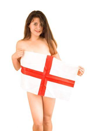 woman holding English flag Stock Photo - 3181436
