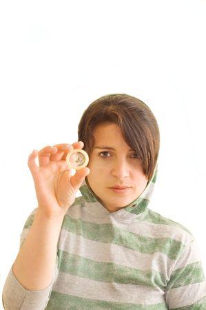 std: Adolescent female holding a condom.