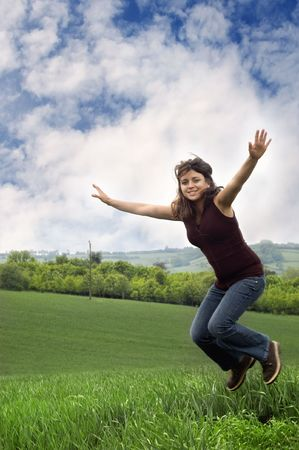 woman jumping for joy  Stock Photo - 3181459