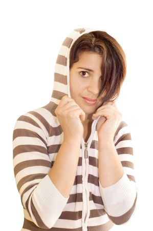 Adolescent female wearing hooded top.