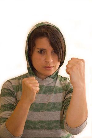 Aggressive female thug preparing for a fight