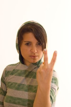 asbo: Offensive female thug sticking two fingers up
