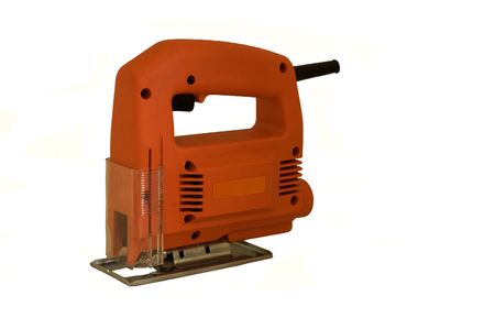 an isolated electric jigsaw cutting tool. Stock Photo