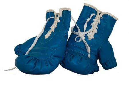 a pair of blue used boxing gloves  Stock Photo
