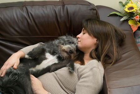 to cuddle: a pretty young woman asleep with her scruffy dog
