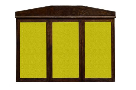 an old tatty wooden billboard with three seperate yellow textured backgrounds.  Standard-Bild