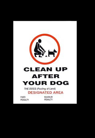 poop: an isolated on black dog fouling sign with the fixed and maximum penalty amounts removed.