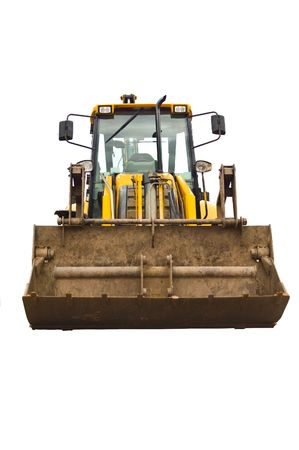 dozer: a front on image of a yellow rusty well used and worn jcb earth mover.
