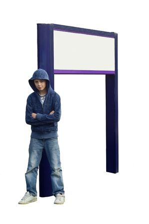 an isolated image for ease of use, of a teen thug looking menacing, leaning against a blank signpost.