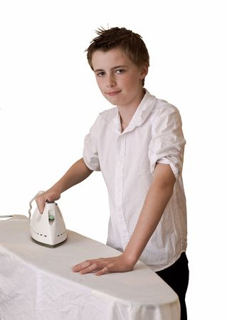 an image of a teenage school boy ironing wearing an unironed shirt, could portray irony.
