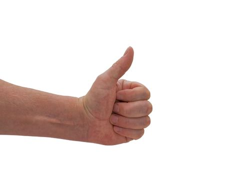 an isolated caucasian mans hand giving the thumbs up world wide gesture for OK, alright, etc  Stock Photo