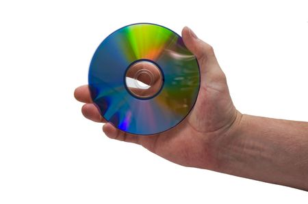an isolated over white image of a caucasian mans hand holding a CD or DVD disk.