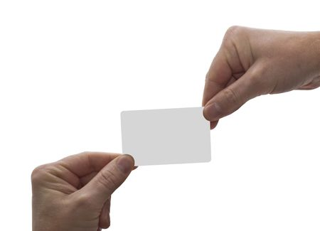 an isolated over white image of two caucasian mens hands exchanging a blank card, could be used for credit, payment, buisness etc