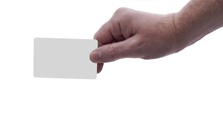 an isolated over white male Caucasian hand holding a blank card, possible uses include credit card, saver card, securtiy pass etc