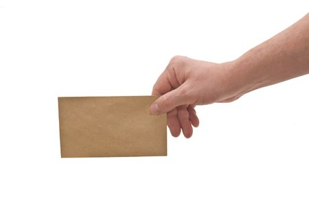 an isolated over white, caucasian mans hand holding a small brown mottled envelope  photo