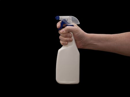 an isolated over black caucasian man's hand holding a blank spray bottle. Standard-Bild
