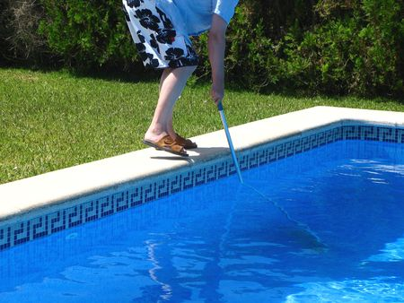 pool cleaning Stock Photo