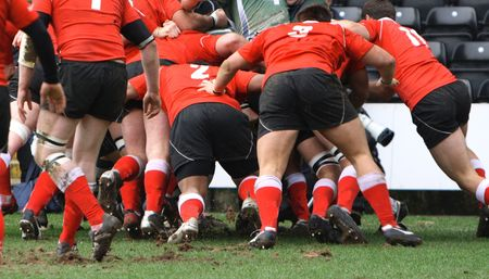 men plating the game of rugby union Stock Photo