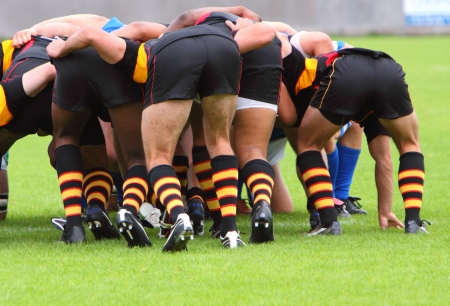 rugby team: rugby scrum Stock Photo