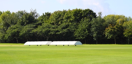wicket: cricket covers for the wicket Stock Photo