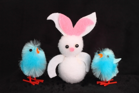 rabit: easter bunny and chicks Stock Photo