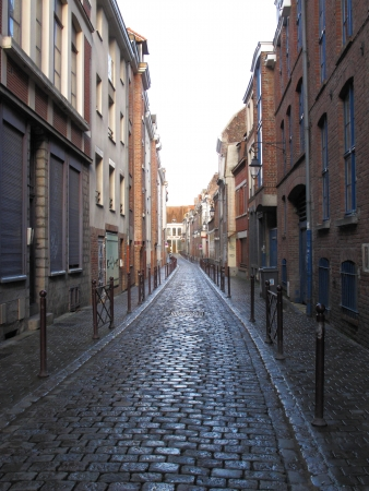 Typical cobbled street Lille France Stock Photo