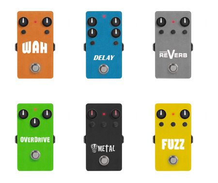 guitar effect pedals on white
