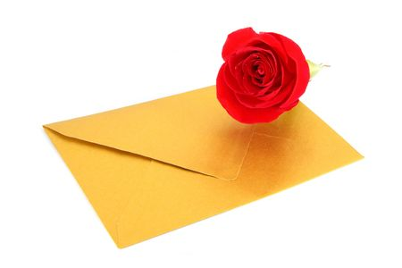 Rose and a gold envelope isolated on white background