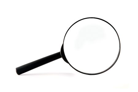 Black Magnifier isolated on white background Stock Photo