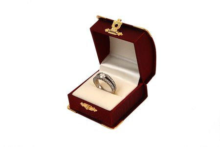 Diamond ring with red box on white Background