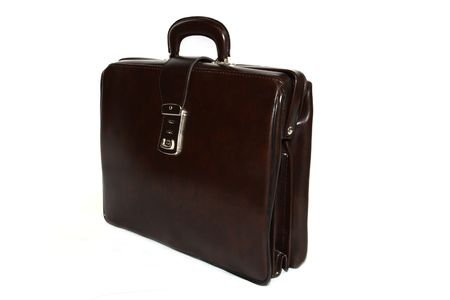 Elegant Brown Leather Briefcase isolated on white background