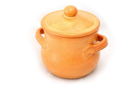 Single ceramic pot isolated on white background